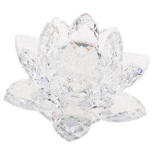 Crystal-Lotus-Flowers-Crafts-Paperweights-Buddhist-Feng-Shui-Ornaments-Clear