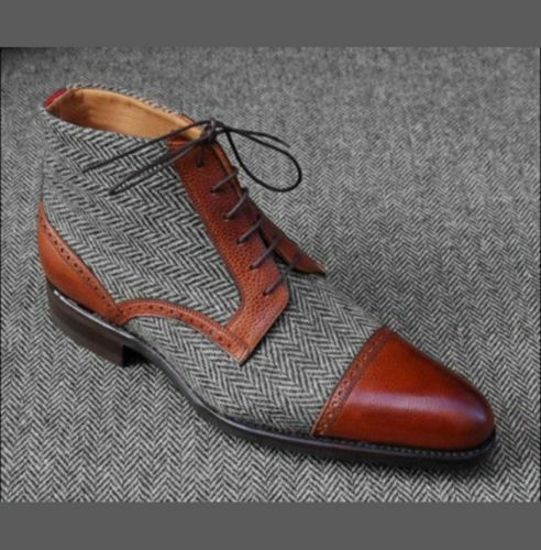 Mens Handmade Boots Two Tone Grey & Brown Ankle Formal Wear Casual Dress shoes