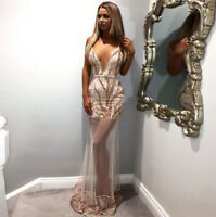 Nude Rose Gold Sequin Detail V-Neck Maxi Dress Boutique Size S-XL Celeb Style