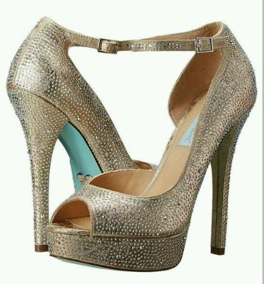 Betsey Johnson Ivy Rhinestones Damenschuhe 7.5 Blau Heels Schuhes Wedding Champagne