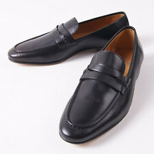 NIB $650 CANALI 1934 Smooth Black Calf Leather Penny Loafer US 7 D Shoes
