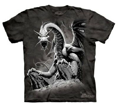 The Mountain Men's Graphic Tee Black Dragon T-shirt Adult Size