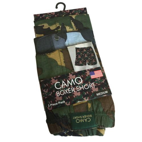 3 Pairs Mens 'Camouflage' Button Front Boxer Shorts Underwear 100% Cotton M L XL