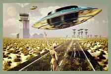 *UFO AIRPORT* VINTAGE METAL SIGN AREA 51 ROSWELL LANDING SITE ALIENS MARTIANS