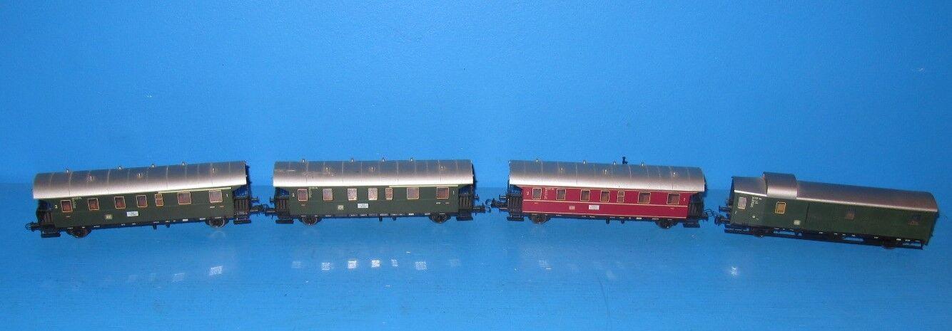 4x Fleischmann obiettare vetture passeggeri 80 5076; 5077 + carrello Borsaagli 5074  709