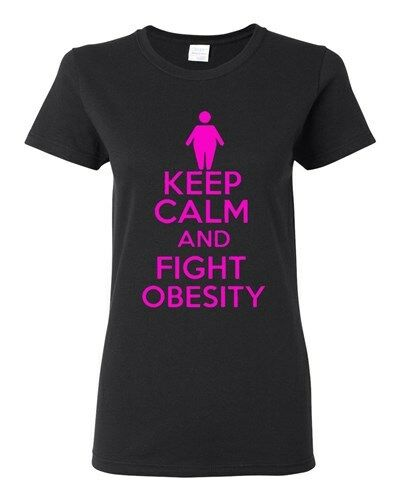 Ladies Keep Calm And Fight Obesity Workout Gym Exercise Funny Humor T-Shirt Tee