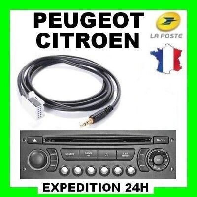 Cable auxiliaire aux 3.5mm prise audio autoradio hifi pour Citroen Peugeot neuf