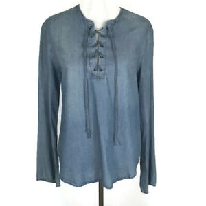 Thread-amp-Supply-Womens-Shirt-Size-Medium-Blue-Chambray-Lace-up-Tie-Long-Sleeve