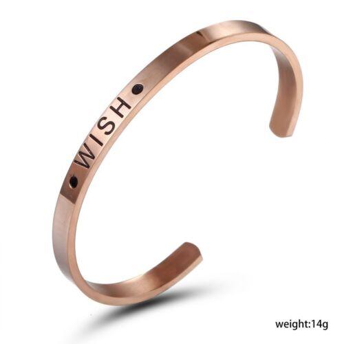 Acier Inoxydable Amour Gravé Lettres Cuff Bangle Bracelets Bijoux Cadeau Nouveau