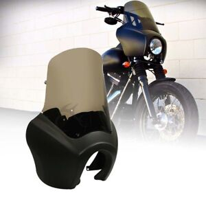Details about ABS Front Fairing & 15'' Smoke Windscreen For Harley FXR w/  T-bar 1987-1999 1998