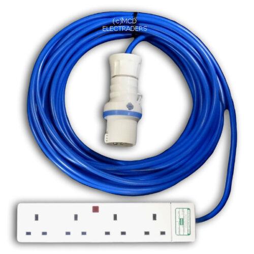 15 Metre Blue Caravan Hook Up Extension Cable 2.5mm 16A Blue Plug /& 4G Socket