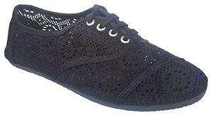 e7ea9e60b Womens Classic Crochet Canvas Black Lace Up Flat Espadrilles Loafers ...