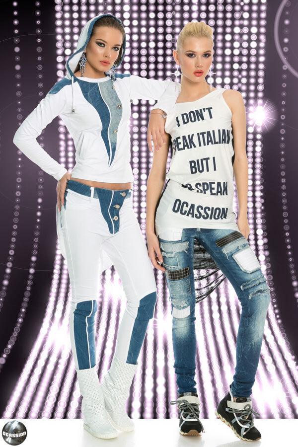 Ocassion Jeans Donna Jeans Crepe sexy hüftjeans destroyed brandelli JEANS JEANS JEANS BLU 3184a6