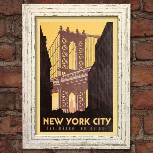 New york #1 rétro vintage travel poster nostalgique home print wall art decor #59