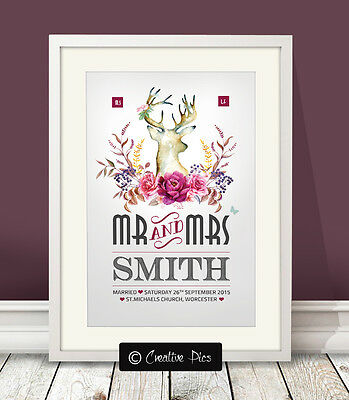 Personalised RUSTIC COUNTRY Wedding print / Engagement / anniversary / present