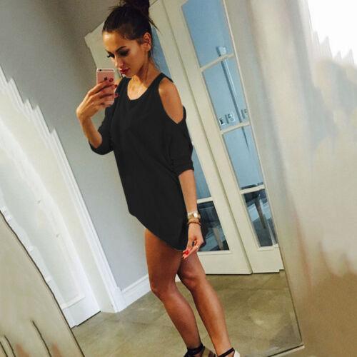 Damen Freizeit Sommer Kleid Top Bluse Hemdbluse Strand Lose Tunika Minikleid