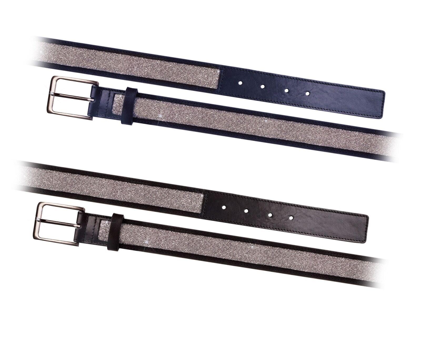 Fair Play glitter leather belt splendor Brown with high-quality,
