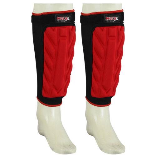 Red MRX New Stylish Shin Pads MMA Leg Foot Guards Muay Thai Kick Boxing Black