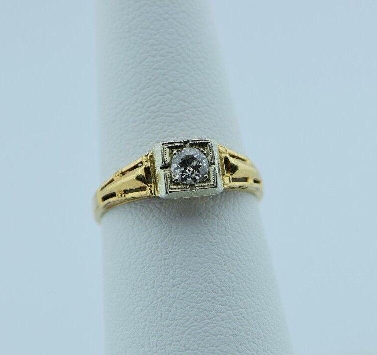 14K Yellow gold Vintage Illusion Mounted Diamond Ring circa 1930's, Size 6.25