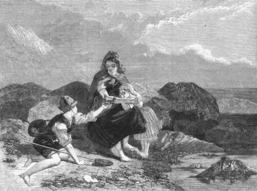 FISHING. The fisher boy, antique print, 1859