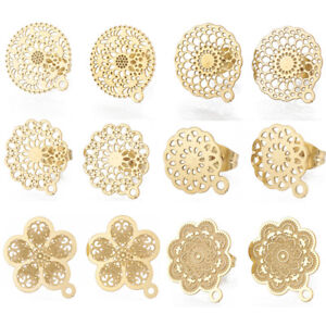 Stainless-Steel-Ear-Studs-Components-Earring-Jewelry-Findings-Flat-Round-Flower