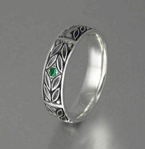 Ethnische Antike Silber Farbe Grün Kristall Ring Frauen 26S