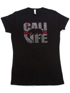 Womens-Cali-Font-Rhinestone-Short-Sleeve-T-Shirt