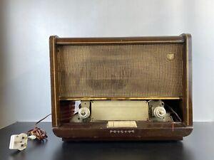 Philips B5G64A Radio Vintage 1956 Tube Valve Rare Wooden Case MW LW UHF UK Made