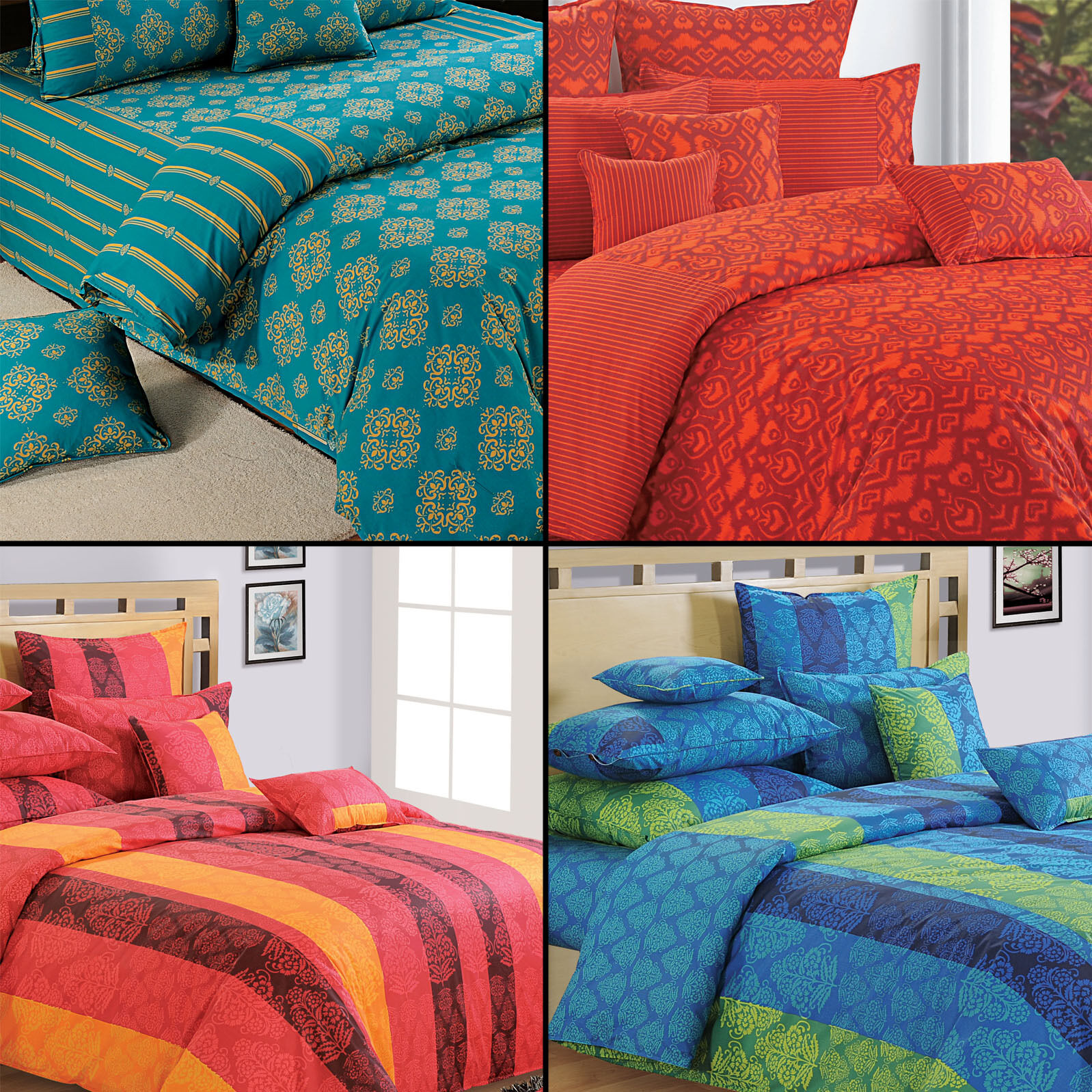 100% Cotton Twin Queen King Dimensione Decorative Duvet Cover with Pillow Cover-8120
