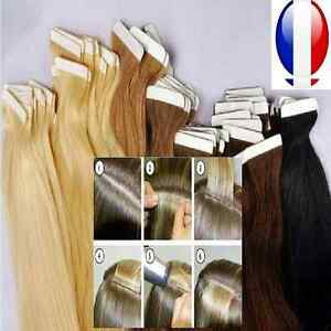 10-20-30-40-BANDES-EXTENSIONS-TAPE-ADHESIVES-CHEVEUX-100-NATURELS-REMY-49-60-CM