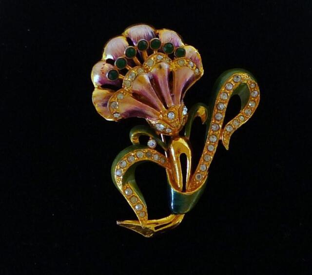 "Vintage Coro 3"" gold tone enamel rhinestone flower brooch layered riveted"