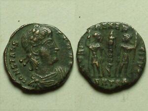 Rare Genuine ancient Roman coin Constans Legion soldiers standard Thessalonica