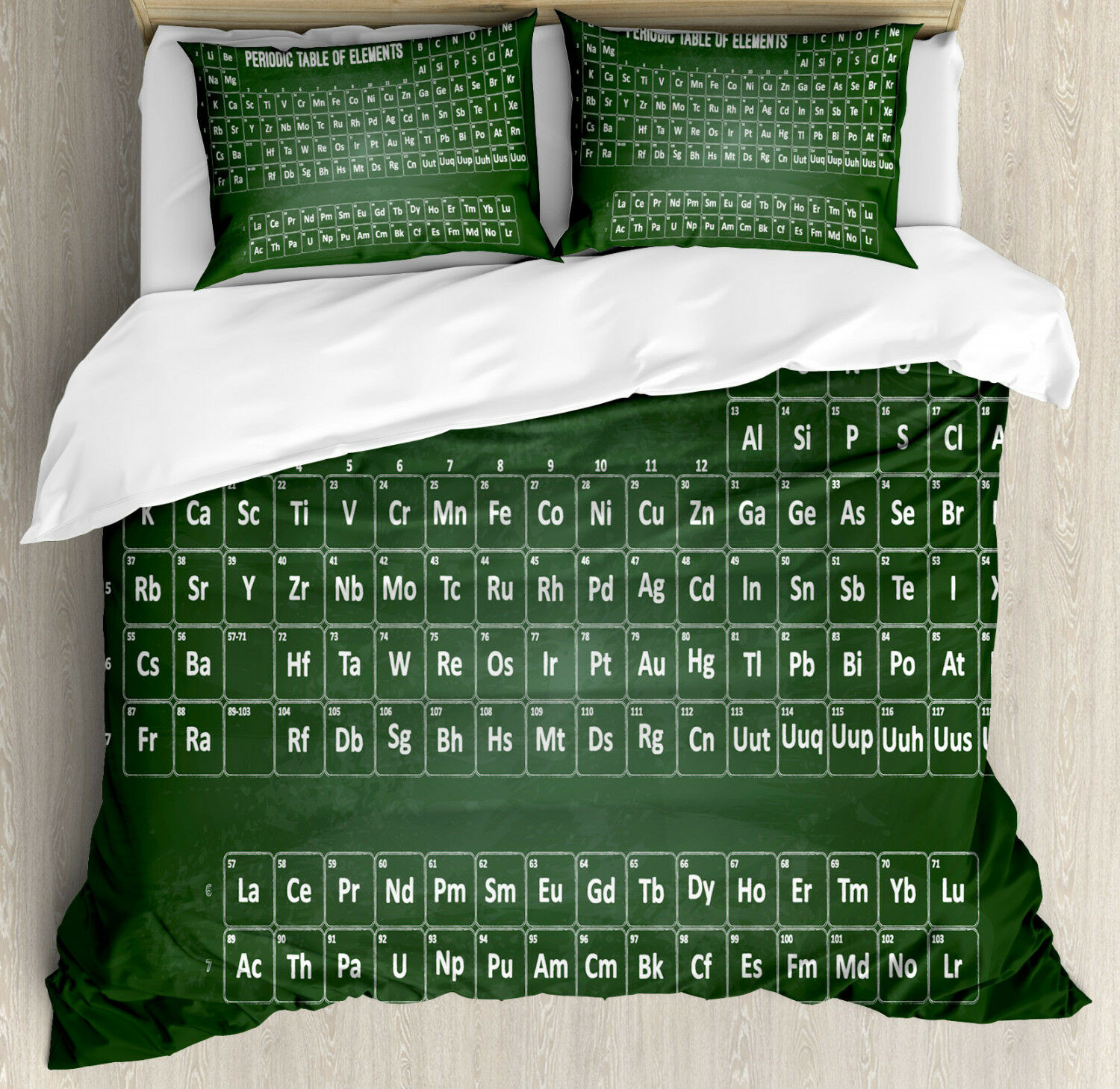 Periodic Table Duvet Cover Set with Pillow Shams Science Elements Print