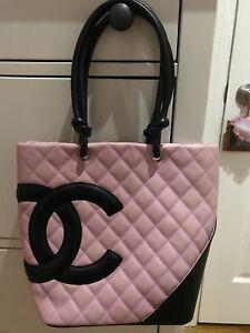 Authentic-Chanel-Pink-And-Black-Leather-Medium-Cambon-Purse-HandBag