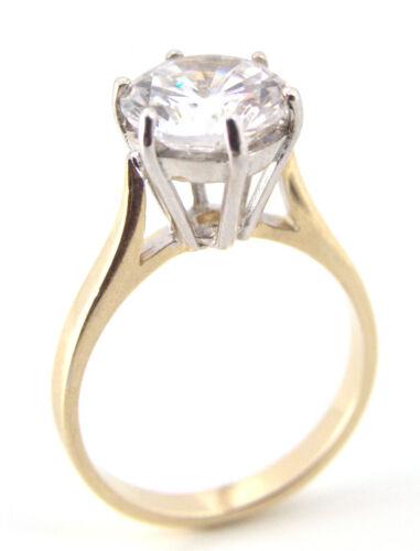 Engagement Ring 3 Carat Diamond Unique Solitaire Solid Gold
