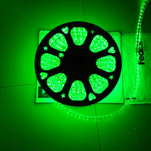 2M Green 110V  120V 5050SMD Flexible Flat LED Strip Rope Light+US Plug