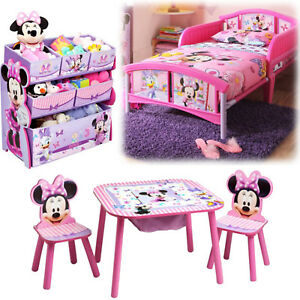 Girl Bedroom Furniture Set Toy Organizer Kid Child Toddler Bed Table ...