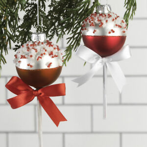 buy online 09dd4 14142 Details about Glass Cake Pop Christmas Ornaments set of 2 5.5 inches pmp  3720057 NEW
