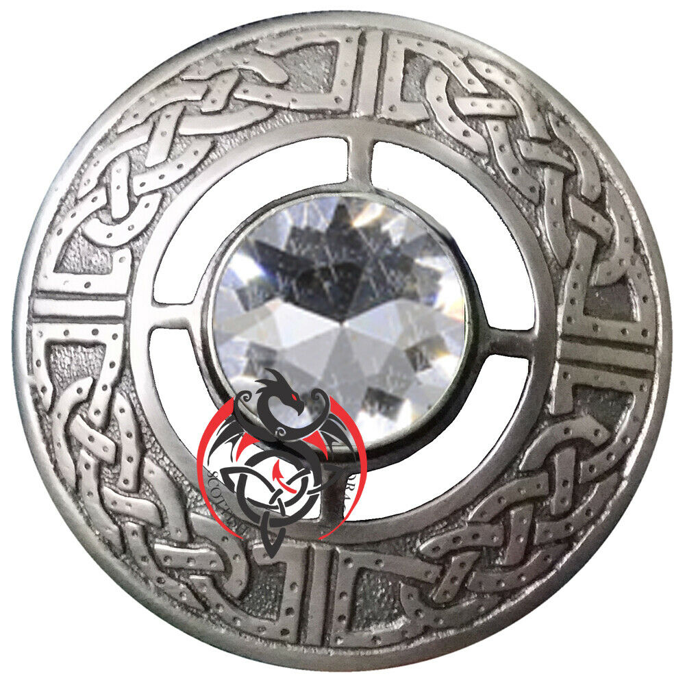 """Fly Plaid Brooch White Stone Silver Antique 3"""" Scottish Celtic Pin Brooches"""