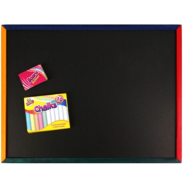 Childrens Kids Chalkboard Chalk /& Board Rubber 33cm x 43cm