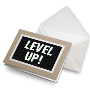 Greetings-Card-Biege-Level-Up-Gamer-Geek-Teen-Kids-14718