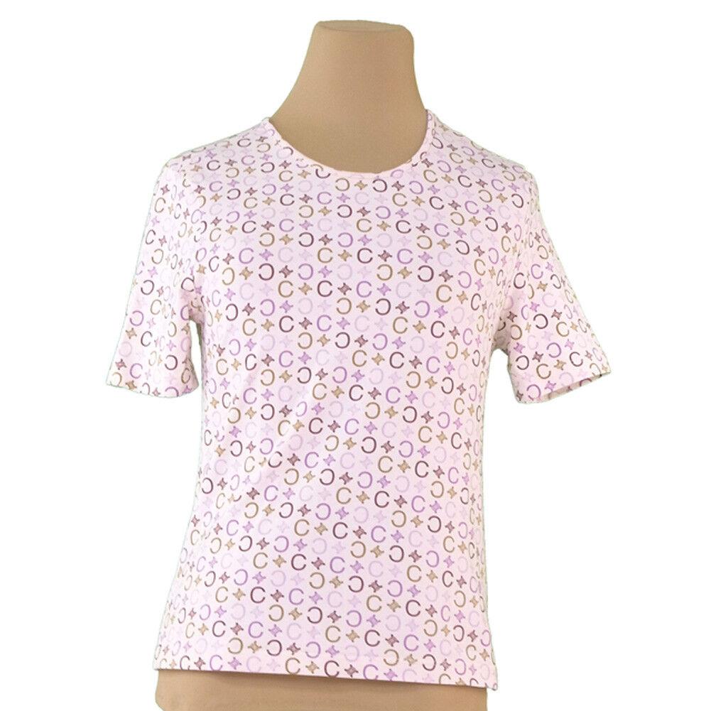 Celine T-Shirts C Macadam Beige Purple Woman Authentic Used A1760
