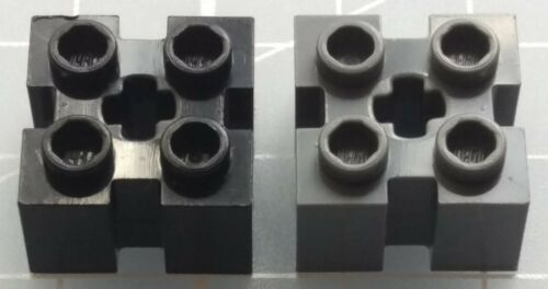 LEGO 90258 Brick Modified 2x2 with Grooves and Axle Hole x4