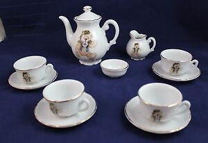 Tea Set English Rose Bear Fine German Porcelain By Roehler Collection 12 pieces