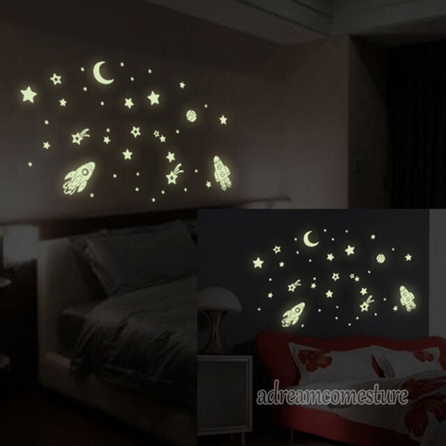 Novelty Star Universe Glow Removable Art Wall Stickers Kids Room Decor