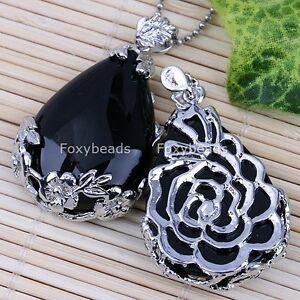 1pc-Black-Agate-Onyx-Teardrop-Inlaid-Flower-Gemstone-Bead-Pendant-for-Necklace