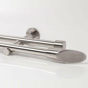20mm-Vorhang-Gardinenstange-Zweilaeufig-Metall-Edelstahl-Optik-110-600cm-Ellipse