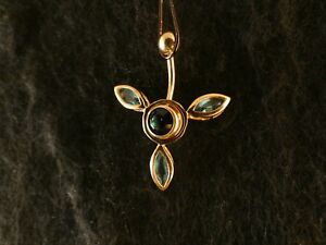 Piercing-24-Karat-Gold-Anhaenger-925-Silber-Bluete-Bauchnabel-Stein-Tuerkis