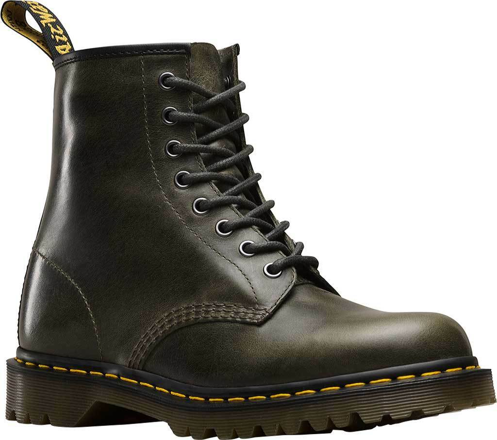 DR. MARTENS 1460 ORLEANS DARK TAUPE TEXTURED LEATHER BOOTS 23167302 NEW