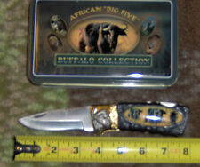 "AFRICAN BIG FIVE BUFFALO COLLECTION 8"" 1-BLADE PKT KNIFE W/COLLECTOR'S TIN"